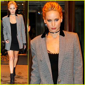 Jennifer Lawrence Rocks Black Mini Dress for 'Red Sparrow' Press Junket