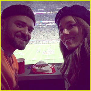 Justin Timberlake Snaps Selfie with Jessica Biel at Super Bowl