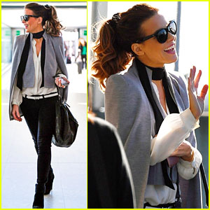 Kate Beckinsale Looks Glam at London Airport After Filming 'The Widow' in South Africa