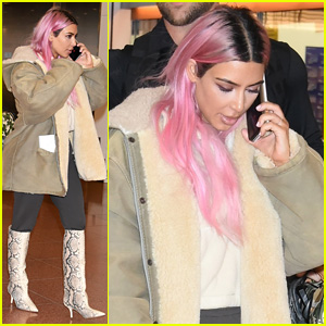 Kim Kardashian Shows Off Her New Pink Hair in Japan