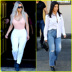 Kim Kardashian Wears Form-Fitting Clothes at Lunch with Family