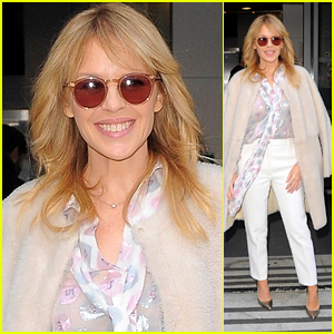 Kylie Minogue Looks Super Chic While Promoting Her Upcoming Album in London!