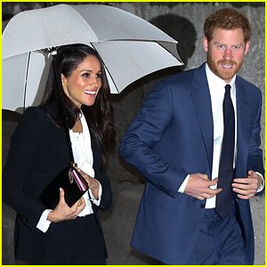 Meghan Markle Wears Chic Pantsuit for Night Out with Prince Harry