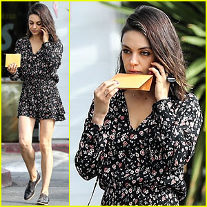 Mila Kunis Puts Her Legs on Display in Tiny Floral-Print Romper