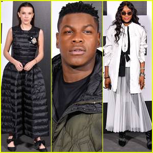 Millie Bobby Brown Joins John Boyega & Naomi Campbell at Moncler Fashion Show