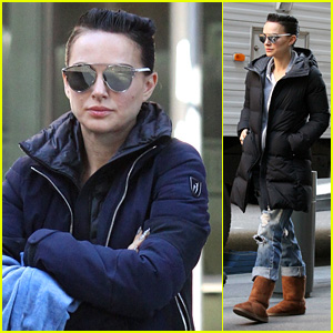 Natalie Portman Looks Edgy With Short Hair While Filming Vox Lux In Nyc Natalie Portman Just Jared