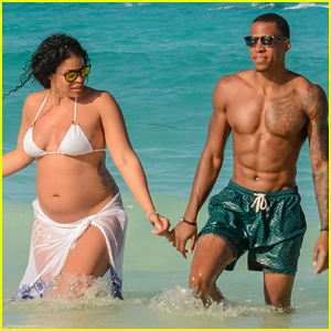 Pregnant Jordin Sparks Flaunts Baby Bump at the Beach!