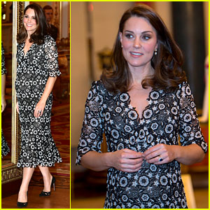 Pregnant Kate Middleton Attends London Fashion Week Event at Buckingham Palace