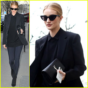Rosie Huntington-Whiteley Cuts a Chic Figure While Stepping Out in Paris