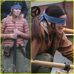 Sandra Bullock Wears Blindfold on Set of 'Bird Box'