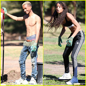 Shirtless Jaden Smith Shows Off His Abs While Planting Trees With Sister Willow