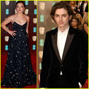 Rising Star Noms Timothee Chalamet & Florence Pugh Hit the BAFTAs Red Carpet