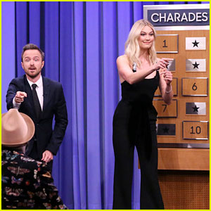 Aaron Paul & Karlie Kloss Face Off in Charades on 'Fallon'