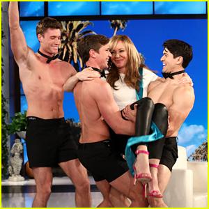 Allison Janney Celebrates Her Oscar Win With Shirtless Hunks on 'Ellen' - Watch!