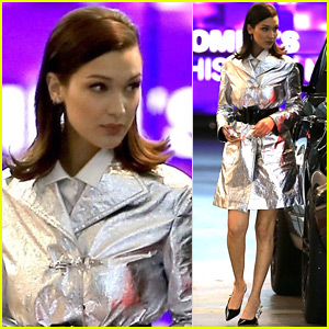 Bella Hadid Goes Bold in Silver Trenchcoat While Out in Beverly Hills