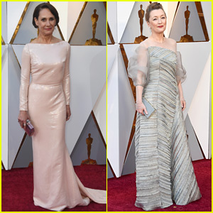 Best Supporting Actress Nominees Laurie Metcalf & Lesley Manville Arrive at Oscars 2018