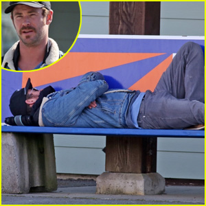 Chris Hemsworth Takes a Quick Nap on a Public Bench