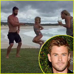 Shirtless Chris Hemsworth Does a Little Dance While Skipping Rope with Family! (Video)