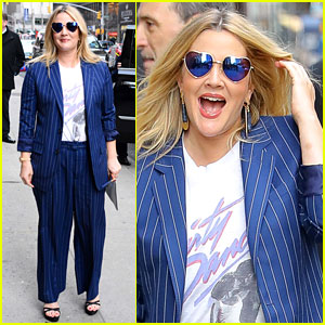 Drew Barrymore Dons Striped Blue Suit for 'Colbert' Appearance