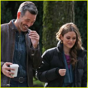Eddie Cibrian & Rachel Bilson Joke Around on 'Take Two' Set