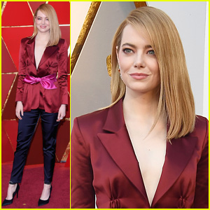 Emma Stone Rocks Chic Pantsuit at Oscars 2018!