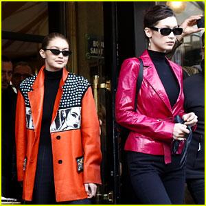 Gigi & Bella Hadid Coordinate Their Bold Looks During Paris Fashion Week