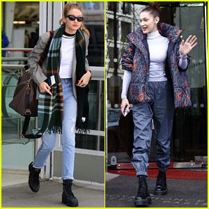 Gigi Hadid Heads Back to NYC While Sister Bella Visits Disneyland Paris
