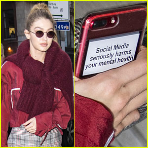 Gigi Hadid Has a Sticker on Her Phone with an Important Message