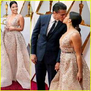 Gina Rodriguez Kisses Boyfriend Joe LoCicero on Oscars 2018 Red Carpet