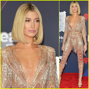 Host Hailey Baldwin Strikes a Pose on the Red Carpet at iHeartRadio Music Awards 2018