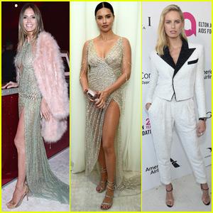 Heidi Klum, Adriana Lima, & Karolina Kurkova Go Glam for Elton John's Oscars Party
