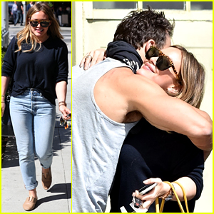 Hilary Duff Gives Her Hunky Trainer a Hug Goodbye