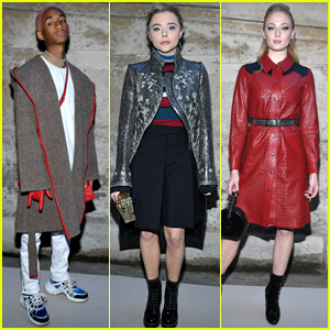 Jaden Smith, Chloe Moretz & Sophie Turner Strike a Pose at Louis Vuitton Show During Paris Fashion Week