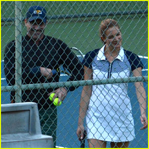 Jon Hamm Plays Tennis With Anna Osceola