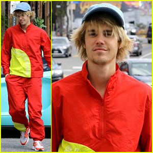 Justin Bieber Steps Out in Matching Pants & Jacket After His Minor Car Accident
