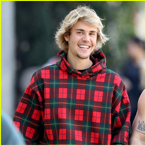 Justin Bieber Rocks Plaid Hoodie for Coffee Run With Friend
