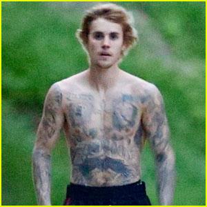 Justin Bieber Goes Shirtless for His Neighborhood Stroll