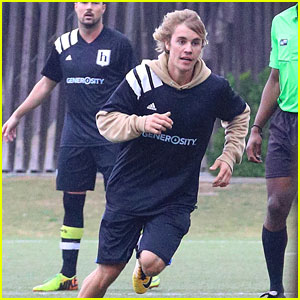 Justin Bieber Plays Soccer on a Rainy Day in LA - See the Pics!