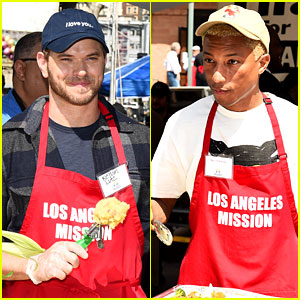 Kellan Lutz & Pharrell Williams Serve Easter Meal to People in Need