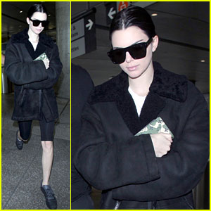 Kendall Jenner Bundles Up in All Black for Airport Arrival
