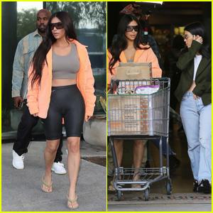 Kim Kardashian Meets Kanye West at the Studio & Goes Grocery Shopping With Kourtney Kardashian!