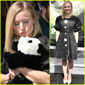 Kristen Bell Cuddles a Stuffed Animal at 'Pandas' Premiere