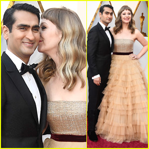 Kumail Nanjiani & Emily V. Gordon Share a Kiss at Oscars 2018!