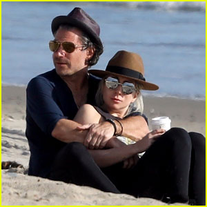 Lady Gaga Cuddles On the Beach with Christian Carino