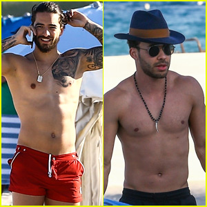 Maluma & Prince Royce Go Shirtless on Vacation in Miami ...