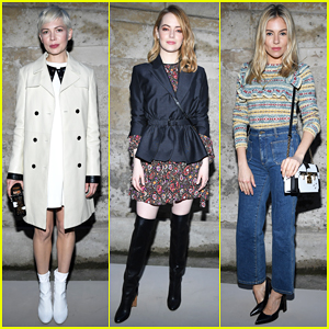 Michelle Williams, Emma Stone & Sienna Miller Step Out for Louis Vuitton Paris Fashion Show!