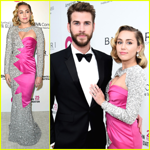 Liam Hemsworth & Miley Cyrus Step Out For EJAF's Oscar Viewing Party