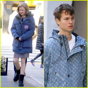 Nicole Kidman & Ansel Elgort Bundle Up While Filming 'The Goldfinch' in NYC!