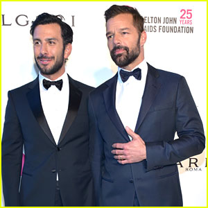 Ricky Martin & Husband Jwan Yosef Couple Up for Elton John's Oscars Party