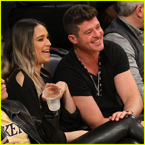 New Parents Robin Thicke & April Love Geary Enjoy a Lakers Date Night